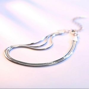 Silver Triple Snake Chain Bracelet